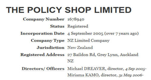 Policy Shop directors - Companies Office
