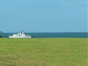 Waitangi 2013 - naval ship on lawn