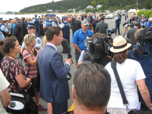 Waitangi 2013 - Patrick Gower and throng outside Te Tii Marae