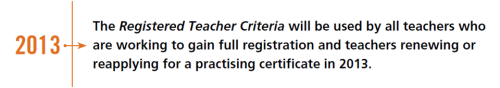NZ Teachers Council - 2013 Criteria will be used
